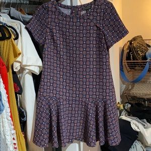 Patterned mini dress with drop waist